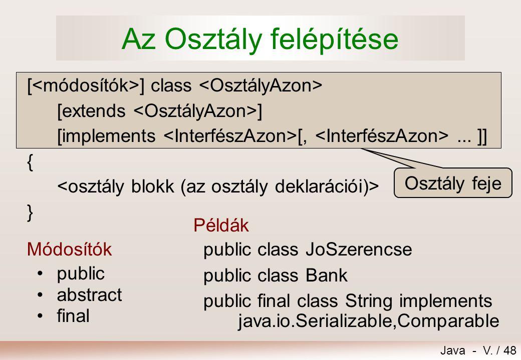 Az Osztály felépítése [<módosítók>] class <OsztályAzon>
